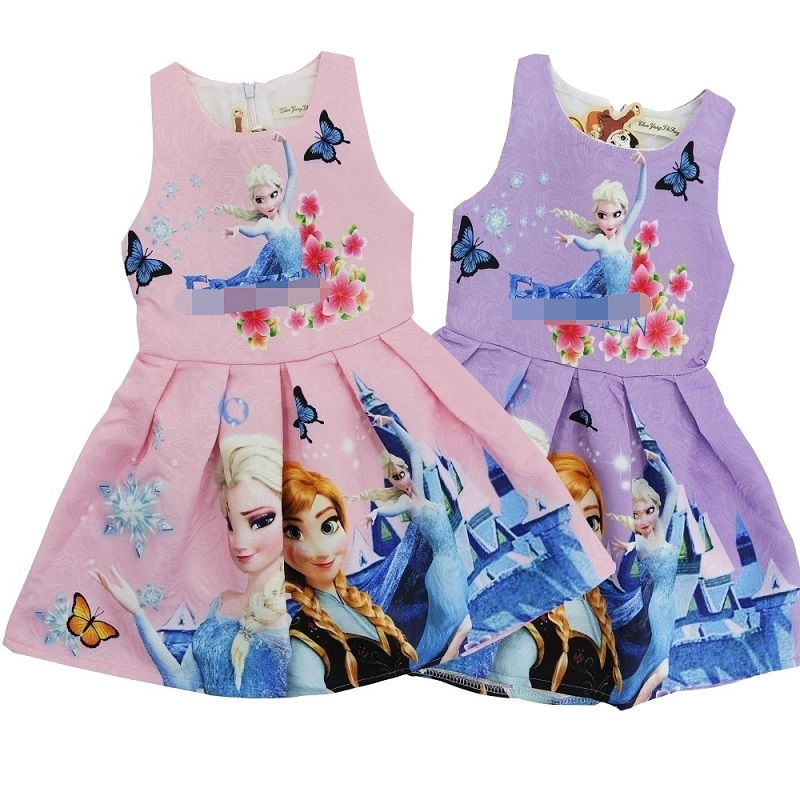 Summer Children Sleeveless Elsa Anna Floral Dresses Kids Princess Party Dresses For Girls 6 8 Baby Girl Hello kitty Flower Dress summer 2017 new girl dress baby princess dresses flower girls dresses for party and wedding kids children clothing 4 6 8 10 year