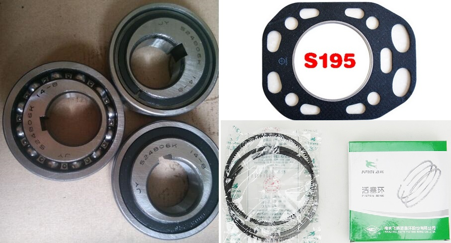 Free Shipping Diesel engine S195 cylinder liner 1PC Gasket AND 2PC Bearing 524806K And 1 sets piston ring