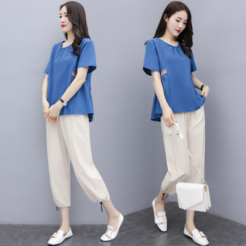 Summer Cotton Linen Two Piece Sets Outfits Women Blue Green Plus Size Short Sleeve Tops And Cropped Pants Casual Vintage Suits 32