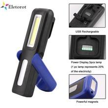 Linterna de inspección COB LED recargable por USB, gancho magnético plegable, tienda de campaña, luces de trabajo con batería integrada