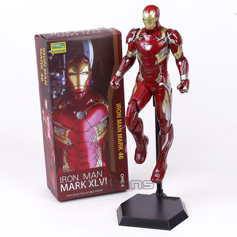 Crazy Toys Iron Man MARK XLVI MK 46 1/6 Scale PVC Painted Figure Collectible Model Toy 38cm crazy toys variant 1 6 scale painted figure x men real clothes ver variable doll pvc action figures collectible model toy 30cm
