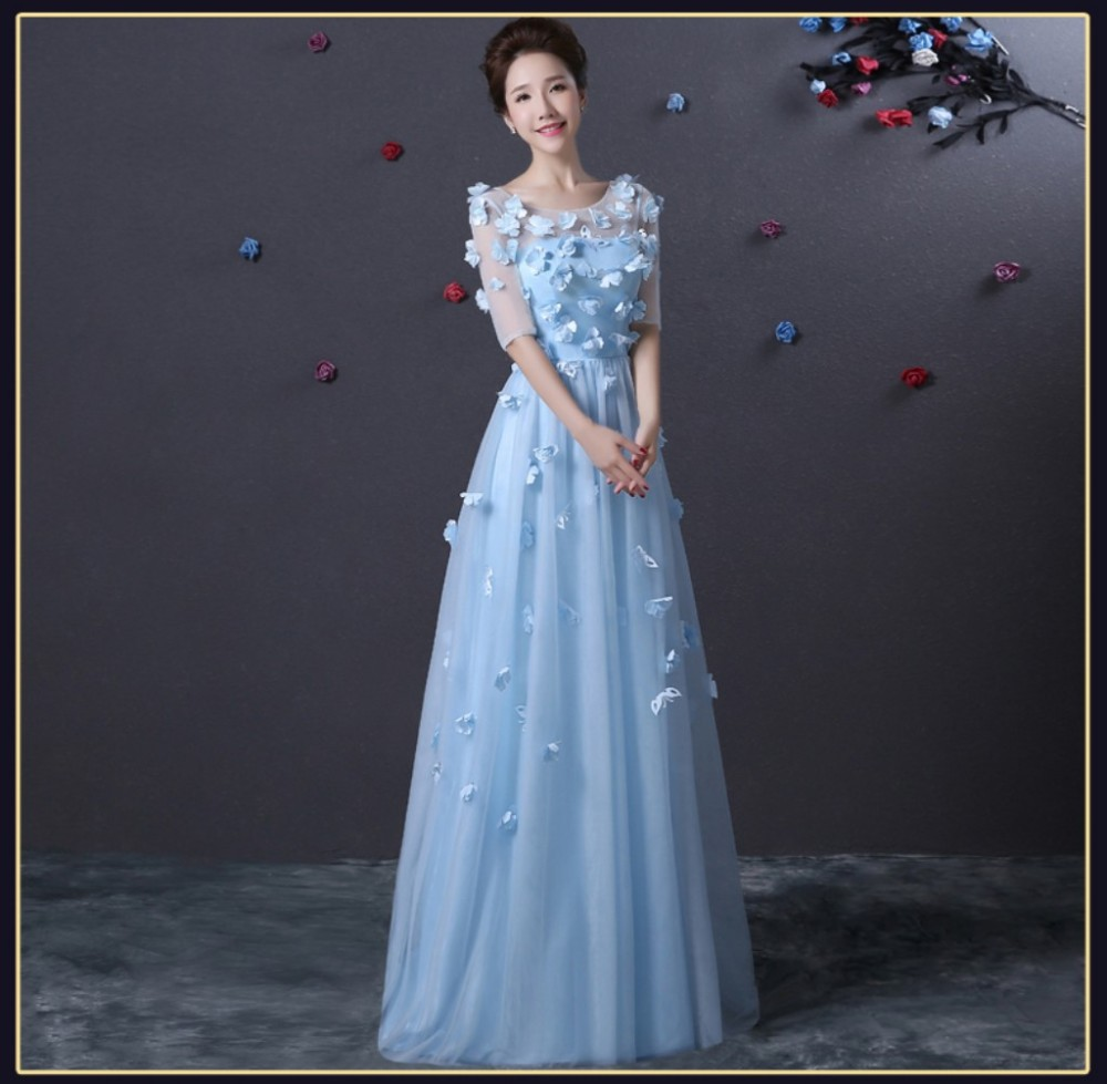 Robe De Soiree Light Blue Prom Dress Half Sleeve With Flowers ...