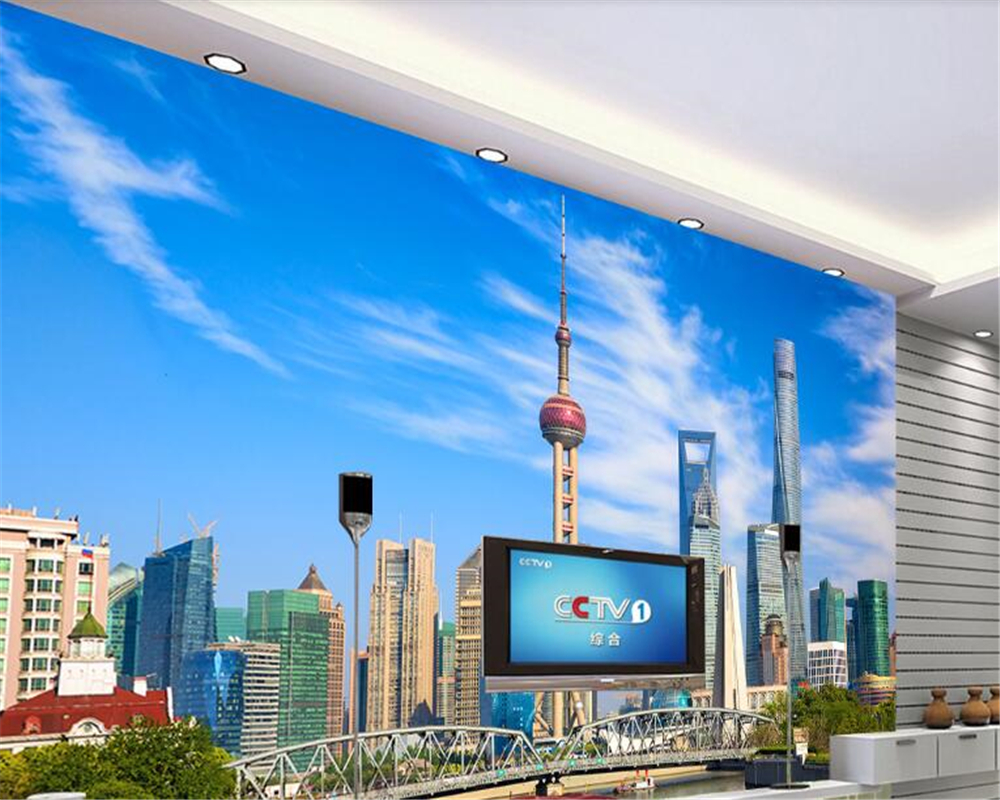 beibehang wallpaper for walls 3 d  High quality mural wallpaper Shanghai architecture Oriental Pearl landscape wall 3d wallpaper
