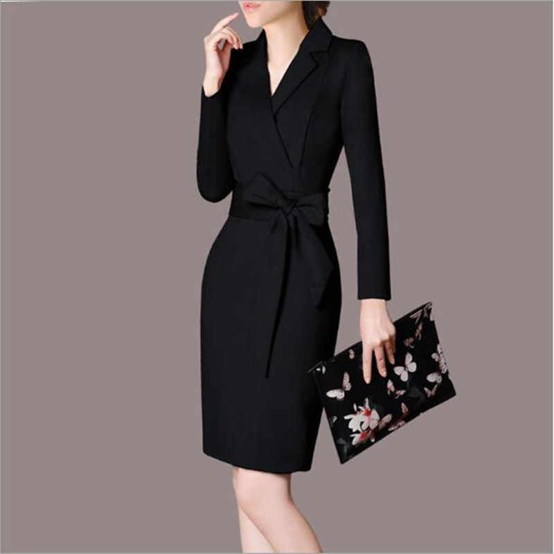 0134e25750c 2018 Мода социальных деловая модельная одежда осень Для женщин Туника  элегантный облегающее платье миди Лапша женская