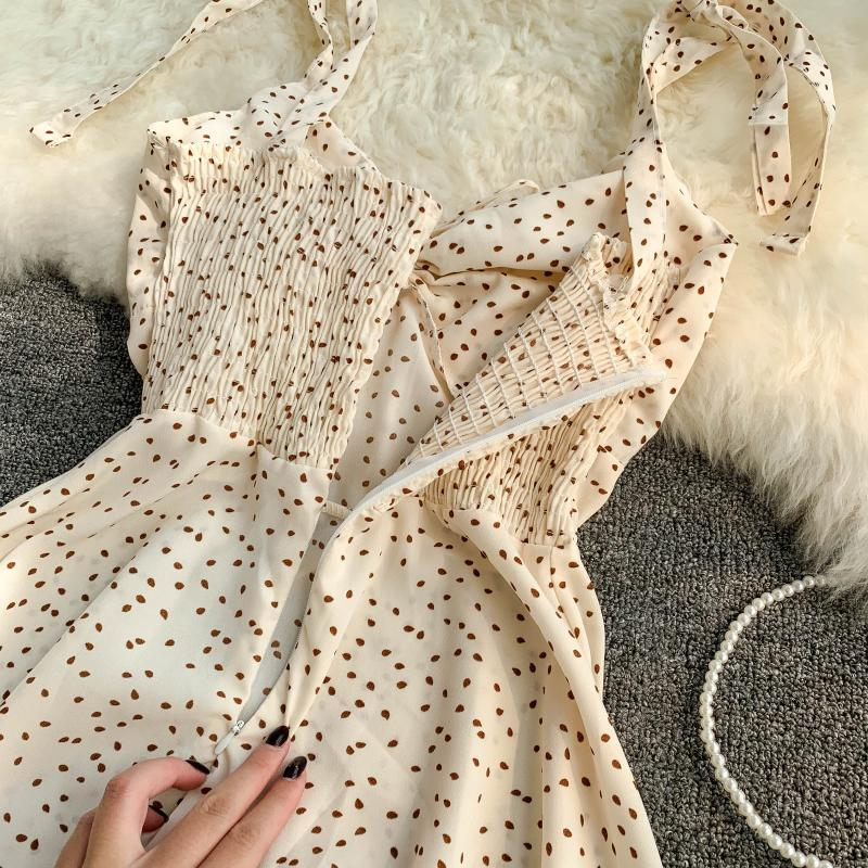 Holiday 2019 New Flower Print V-collar Drawstring High Waist Slim A-line Beach Dress Women Vestidos 19