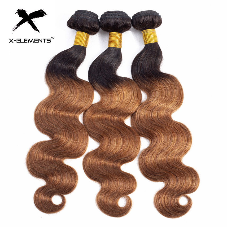 X-Elements Ombre Brazilian Body Wave Hair Bundles T1B Red T1B 30 T1B Burgundy Ombre Human Hair Extensions Two Tones Hair Weave Bundles (8)