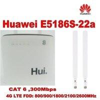 unlocked cat6 300mbps Huawei e5186 E5186s 22a 3g wifi dongle Mobile hotspot 4g cpe plus 2pcs 4g antenna SMA