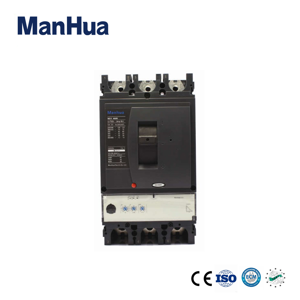 Manhua 3 Pole 220V Surge Protector Relay Protection Voltage Disjunctor NSX-400N Moulded Case Circuit Breaker cm1 400 3300 mccb 200a 250a 315a 350a 400a molded case circuit breaker cm1 400 moulded case circuit breaker