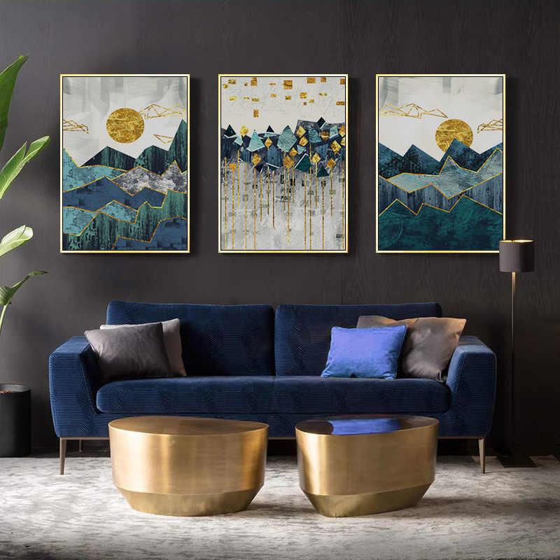 Iskandinav soyut geometrik dağ manzara duvar sanatı tuval yağlıboya altın güneş sanat posterleri baskı duvar resmi oturma odası için