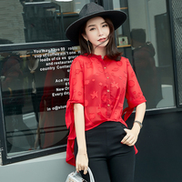 Korean version of the summer new half sleeved shirt before the short long coat covered belly chiffon shirt single breasted women