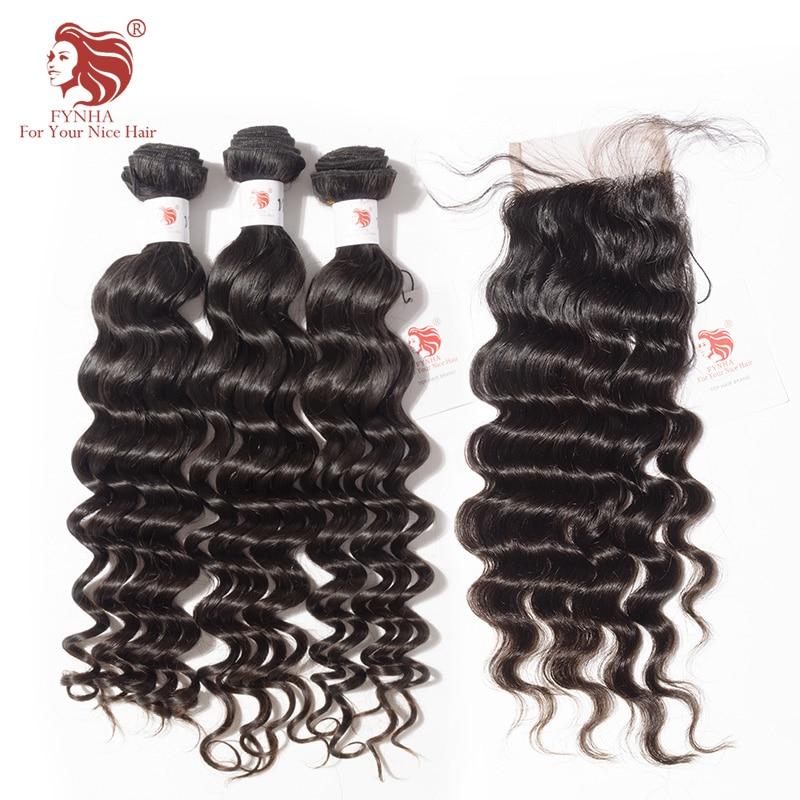 [FYNHA] Indian Virgin Hair Loose Deep Wave Weave 3 Bundles With Lace Closure Human Hair Extensions Closure