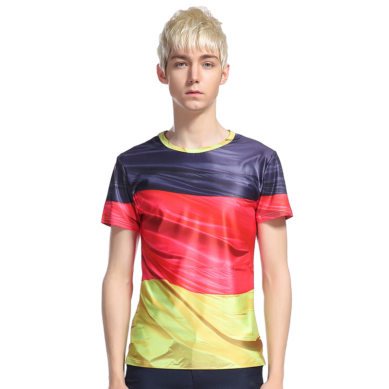 Brand Fashion 3d t shirts Men Summer Fitness Tights 3D Striped Hit Color T shirt Slim