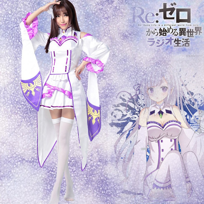 Re: Life In A Different World From Zero Emilia Cosplay Costume Anime Cosplay Halloween Costume Women Christmas Gift Dress
