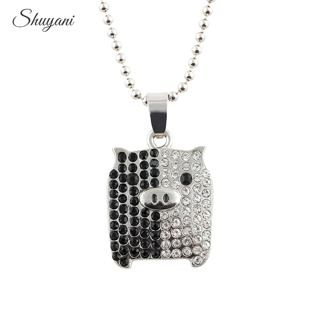 10pcs new fashion lovely silver plated crystal pig pendant new fashion lovely silver plated crystal pig pendant necklace with collar long chain mozeypictures Gallery