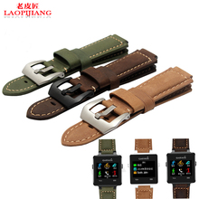 Laopijiang 24*16MM Garmin vivoactive smart watch with Crazy Horse Leather Watchband