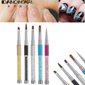 5Pcs/lot Pro Nail Art Brush Set Crystal Acrylic Carve Liner Painting Drawing Design Pen With Tip Cap Salon DIY Manicure Tools