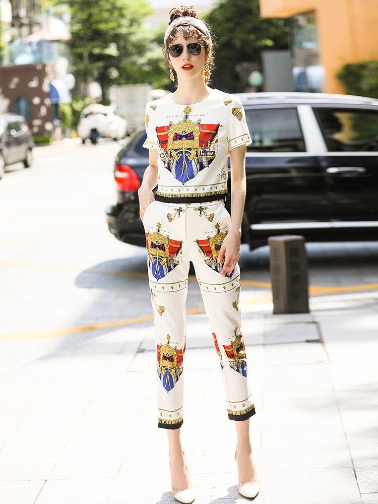 Vêtements Femmes Pantalon Qualité Haute Crop Abstraite Twinset Imprimé Occasionnel De Top Ensemble Designer D'été Costume Tee Truevoker gqAZRR