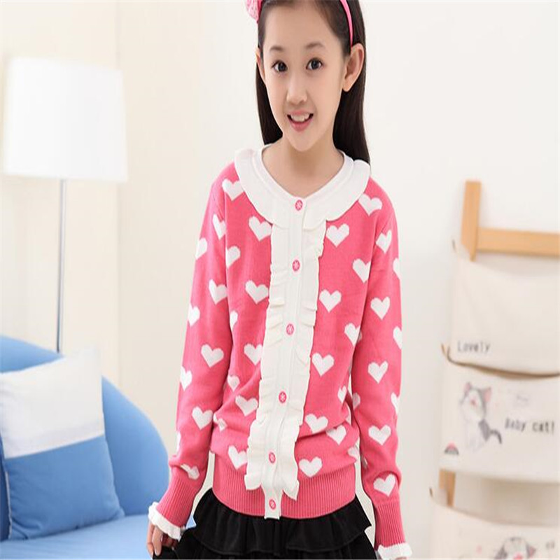 New Fashion Girls Spring Autumn Clothing Outerwear Lace All match Cardigan Knitted Sweater in Sweaters from Mother Kids