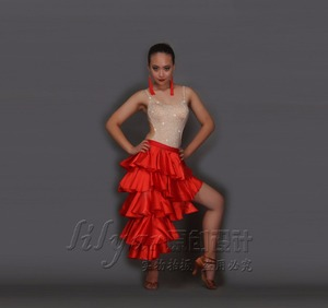 Image 5 - Professional Customizable girl Latin Dance Costumes Senior Sexy stones Latin Dance Dress for Women Latin Dance Compeititon Dress