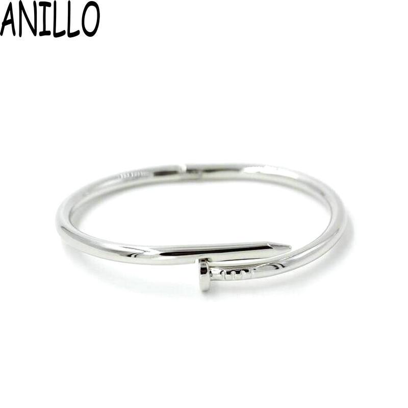 Anillo ماركة pulseira الأنثوية فضية اللون هندسية مفتوحة صفعة أساور ستانلس ستيل سوار الرجال النساء 4 لون المجوهرات