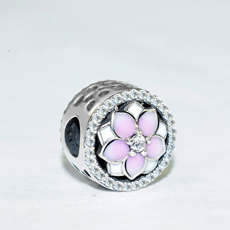 100% 925 Sterling Silver Magnolia Bloom Charm Beads Pink Cz Fit Original Pandora Charm Bracelet Authentic Women Jewelry