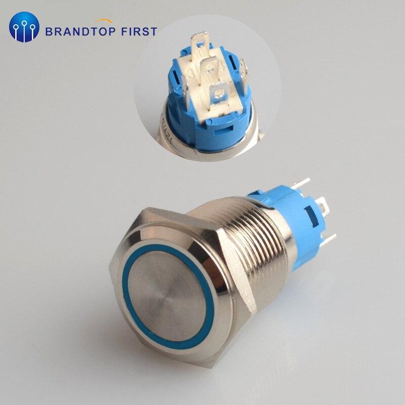 16 мм с фиксацией и само-моментальная Перезагрузка металлический кнопочный выключатель розетка - Цвет: Синий