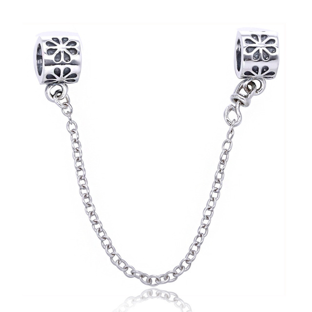 Real 925 Sterling Silver Beads Safety Chain Flower European Charms Fit Pandora Style Bracelet Original