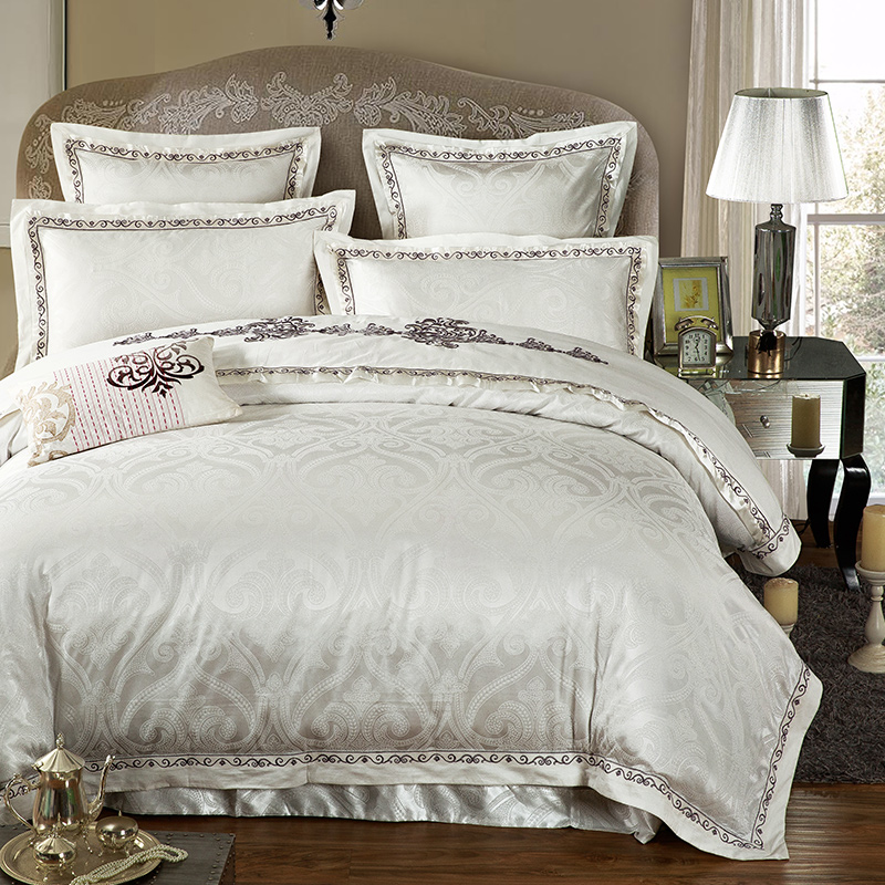 No 1 11 Jacquard Silk bedding set Luxury 4 6pcs Embroidered Satin doona duvet cover queen