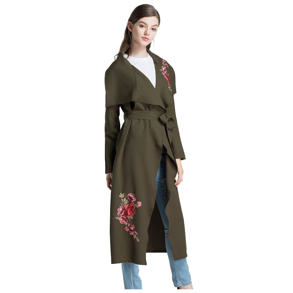MYPF-Autumn Spring Embroidery Floral Pink Long Trench Coat Women Overcoat Casual Outerwear Belt Coats Female Windbreaker