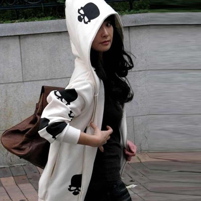 2019 الملابس عارضة الكرتون الجمجمة الرمز الهاتفي امرأة البلوز الخريف والشتاء طويل الأكمام مقنعين الإناث البلوز
