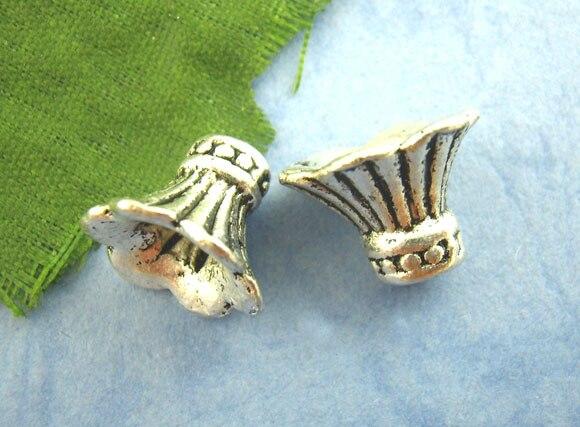 Zinc Metal Alloy Beads Caps Bugle Silver Color Stripe Pattern 12mm( 4/8