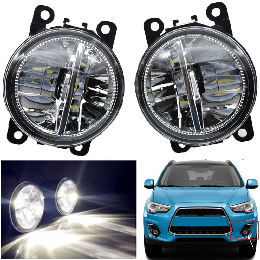 цена на 2PCS LED Front Fog Lights H11 Car Styling Round Bumper Halogen fog lamps 12V For Mitsubishi ASX 2013 2014