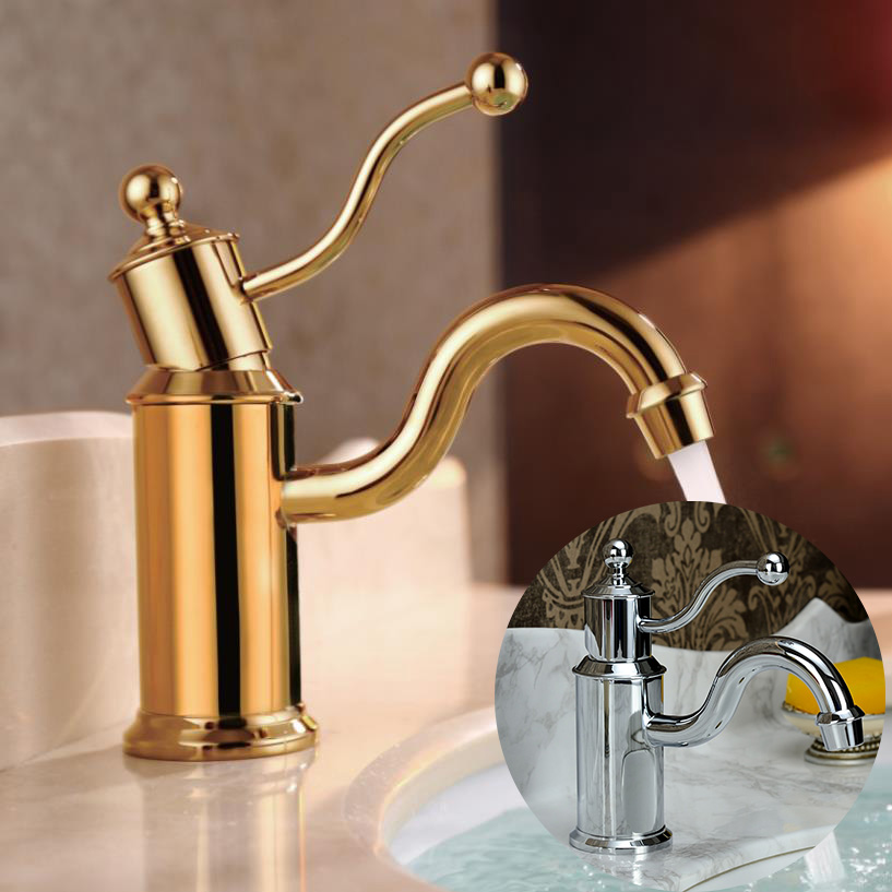 Free Shipping Euro Gold finish Luxury Bathroom Basin Faucet small Single Handle with diamond Vanity Sink Mixer water Tap contemporary concise bathroom faucet antique bronze gold finish basin sink faucet single handle water tap