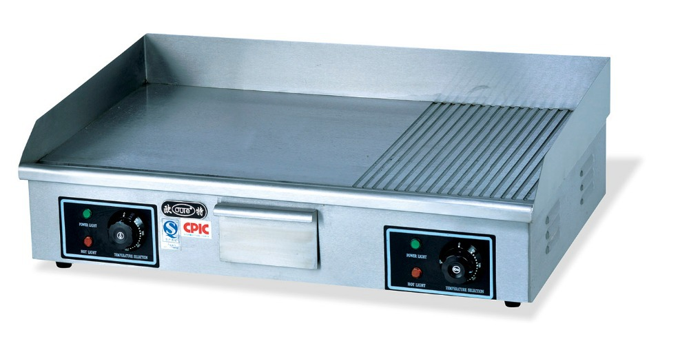 Stainless Steel Flat And Grooved Electric Griddle Good
