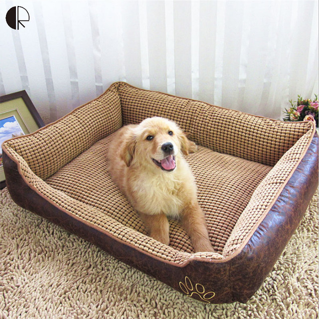 Big Size Extra Large Breathable PU Leather Dog Bed House Sofa Kennel  Washable Soft Fleece Corn