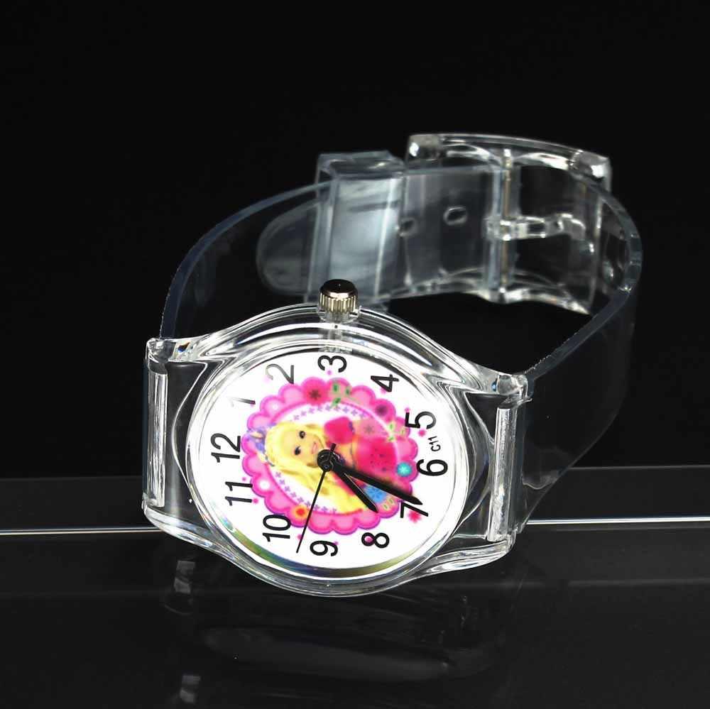 Прекрасная принцесса мультфильм Дети Кварцевые часы ювелирные изделия для мальчиков и девочек прозрачные резиновые детские подарок на день рождения Наручные часы
