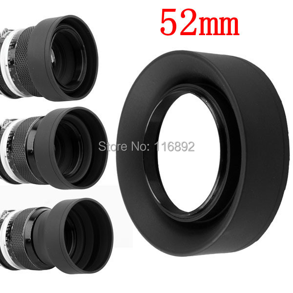 10pcs/lot 52mm 3 Stage 3 in1 Collapsible Rubber Foldable Lens Hood 52 mm DSIR Lens for canon nikon Sony Pentax Fujifilm camera