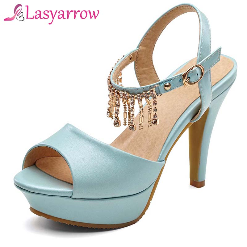 Lasyarrow Summer Shoes Sandals High Heels Shoes for Women Platform Sandals Crystal Tassel Buckle Strap Zapatos Mujer RM772