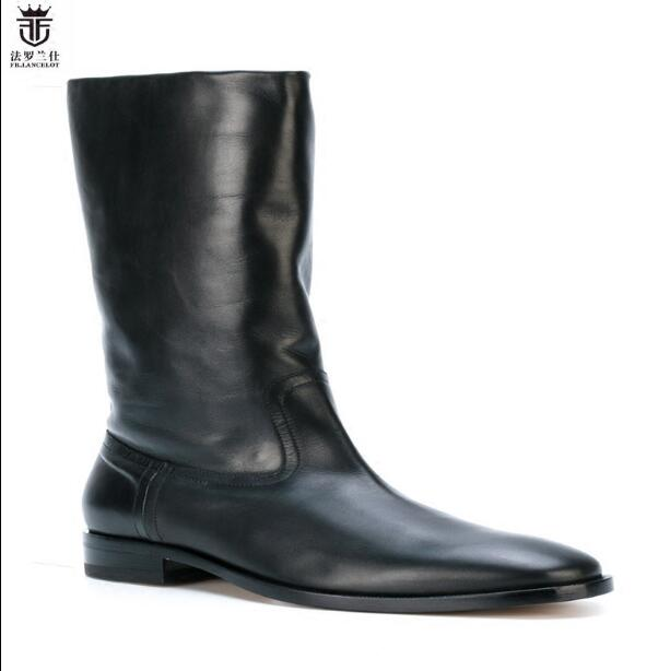 cc09d209c71 LANCELOT Luxury Brand Design Solid Black Cow Leather With Fur Warm Winter  Slip On Men Boots Flats Chelsea Boots Men|leather brand|leather design| leather ...