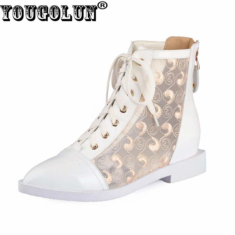 YOUGOLUN Summer Women Pointed toe Ankle Boots Genuine Leather Rivets Fashion Lace-up Low Thick Heels Ladies Apricot Lace Shoes fashion pointed toe lace up mens shoes western cowboy boots big yards 46 metal decoration