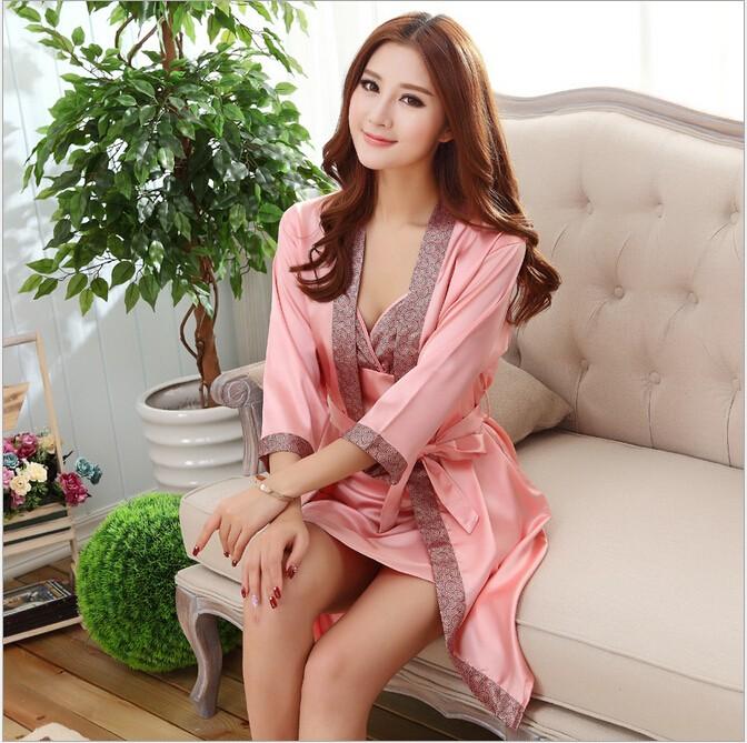 6ad6a70c6d9 Couples Bathrobe Summer Short Sleeve Silk Robe Set Kimono Satin Robe ...