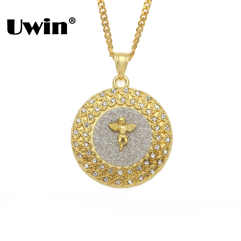 Uwin Round Tag Angle Pendant Necklaces Sand Blast Cuban Link Chain Mens Gold Silver Color Iced Out Rhinestones Hiphop Jewelry Round Tag Tag Roundround Tag Pendant Aliexpress