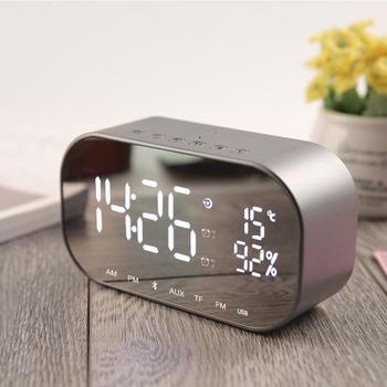 Cyfrowy zegar led wielofunkcyjny bezszumowy lustrzany zegar led wyświetlacz czas temperatura elektroniczny biurko zegary stołowe głośnik tanie i dobre opinie LemonBest Geometryczne DIGITAL Fala ruch Krótkie Z podświetleniem 140mm 50mm Z tworzywa sztucznego Luminova 6 cal 80mm
