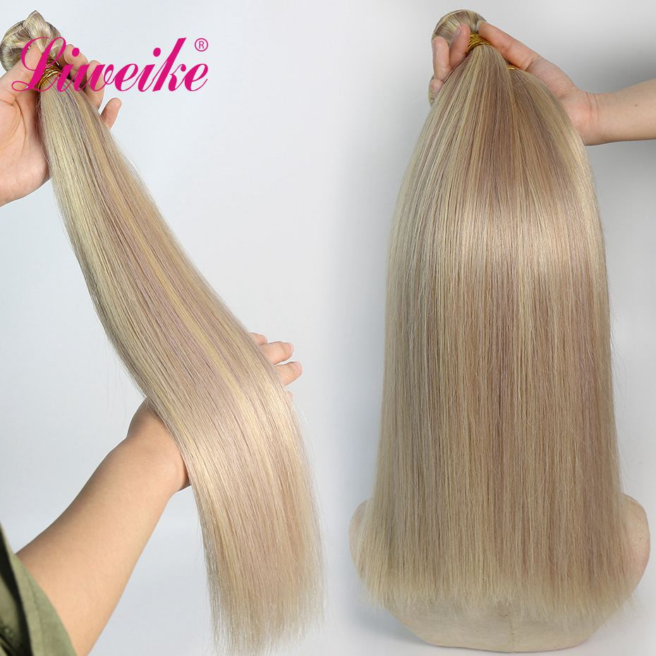 Liweike Straight Hair Color P18/613 Brazilian 1 <font><b>Bundle</b></font> 100% Human Hair 18 20 <font><b>22</b></font> <font><b>Inch</b></font> <font><b>Bundles</b></font> Weaves Thick Silky Remy Extensions image