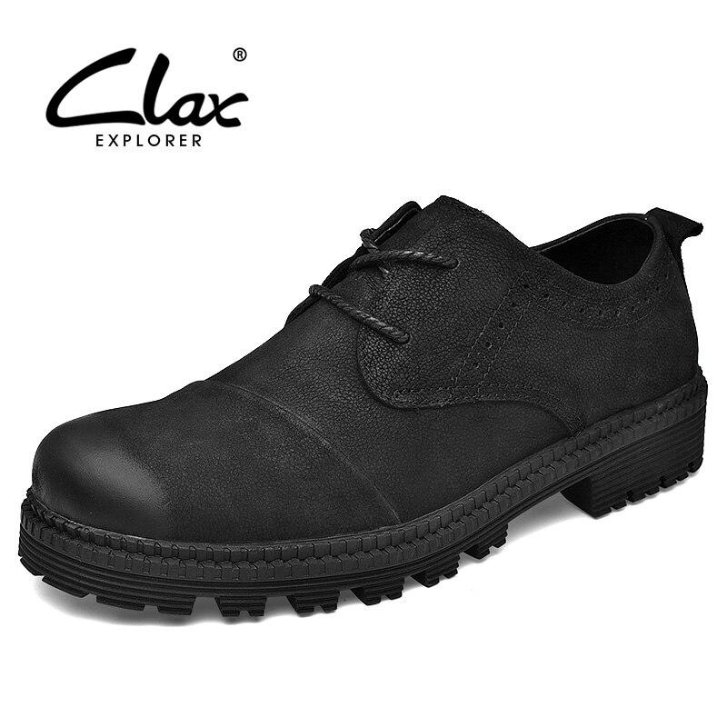 CLAX Hommes Chaussures En Cuir Véritable Printemps Automne Casual Chaussures Hommes Chaussures de Marche Chaussures En Cuir Souple Noir De Mode