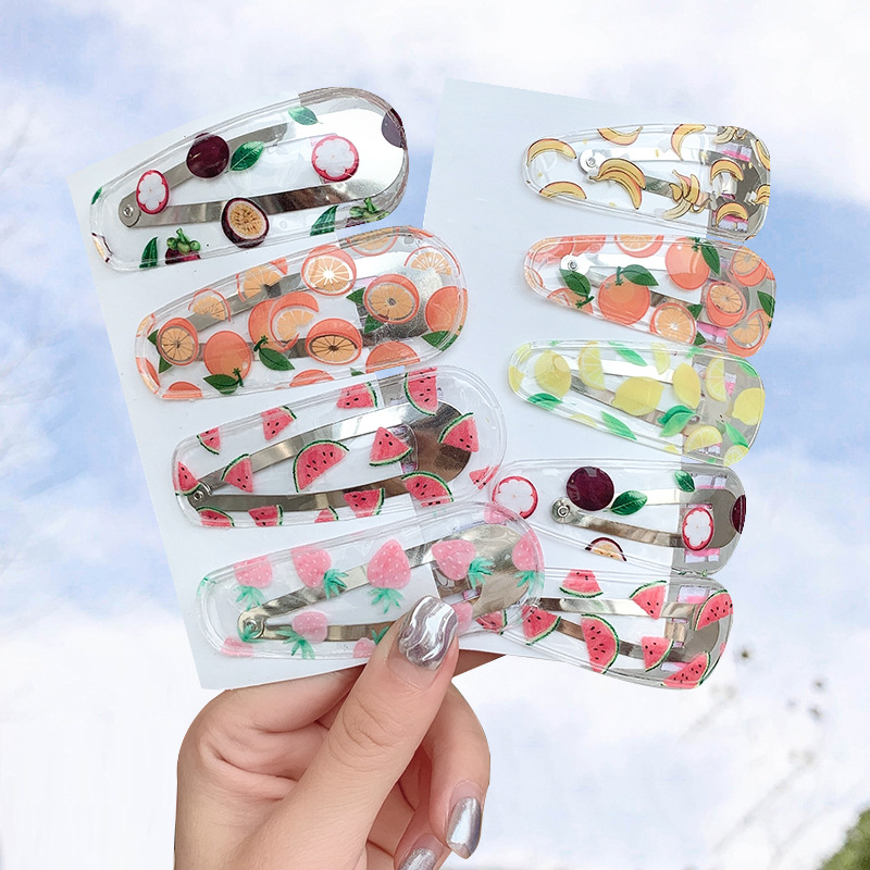 Cute Transparent Fruit Hairpins Girls Drop-shaped Hair Clips Children Cartoon Cloud Headdress Kids Geometric Hair Accessories