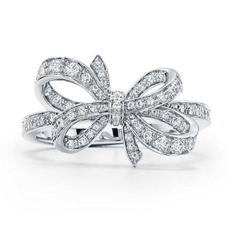 DERMSPE S925 Sterling Silver TIFF New Wedding Party Ring Charm With Cubic-Zirconia Fit Women s Bowknot Shape Temperament woman ladylike elegant style rhinestone embellished bowknot shape women s hairpin