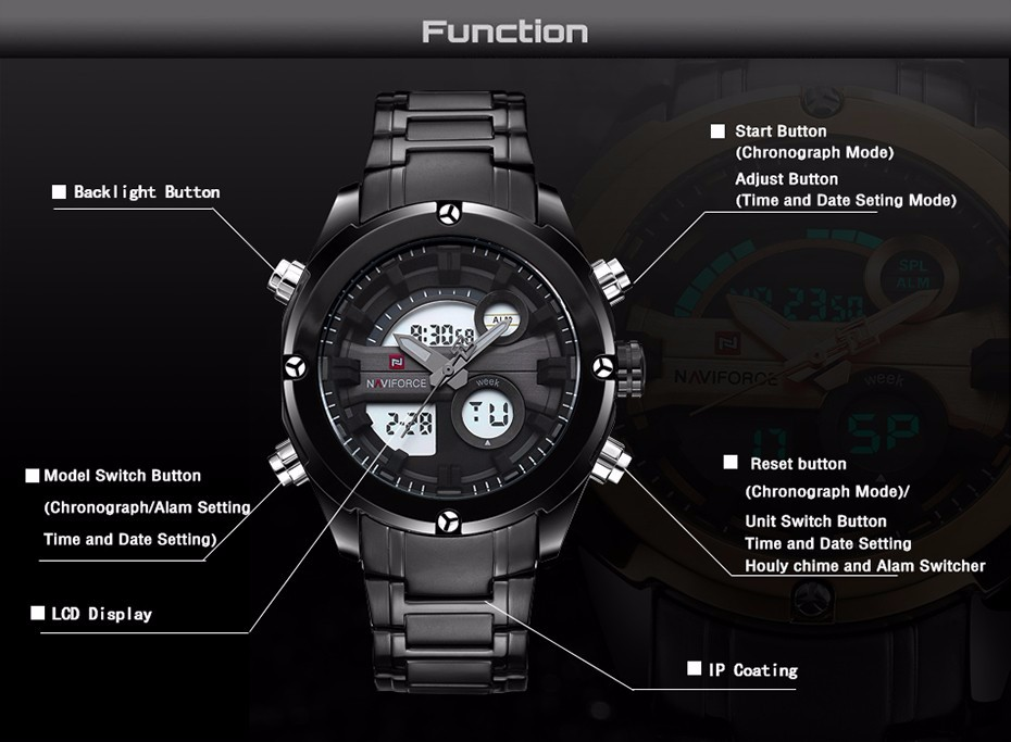 Top Luxury Brand NAVIFORCE Men Full Steel Sport Watches Men's Quartz Analog LED Clock Man Military Wrist Watch Relogio Masculino 2