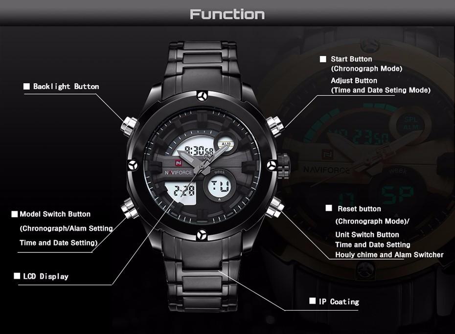 Top Luxury Brand NAVIFORCE Men Full Steel Sport Watches Men's Quartz Analog LED Clock Man Military Wrist Watch Relogio Masculino 2
