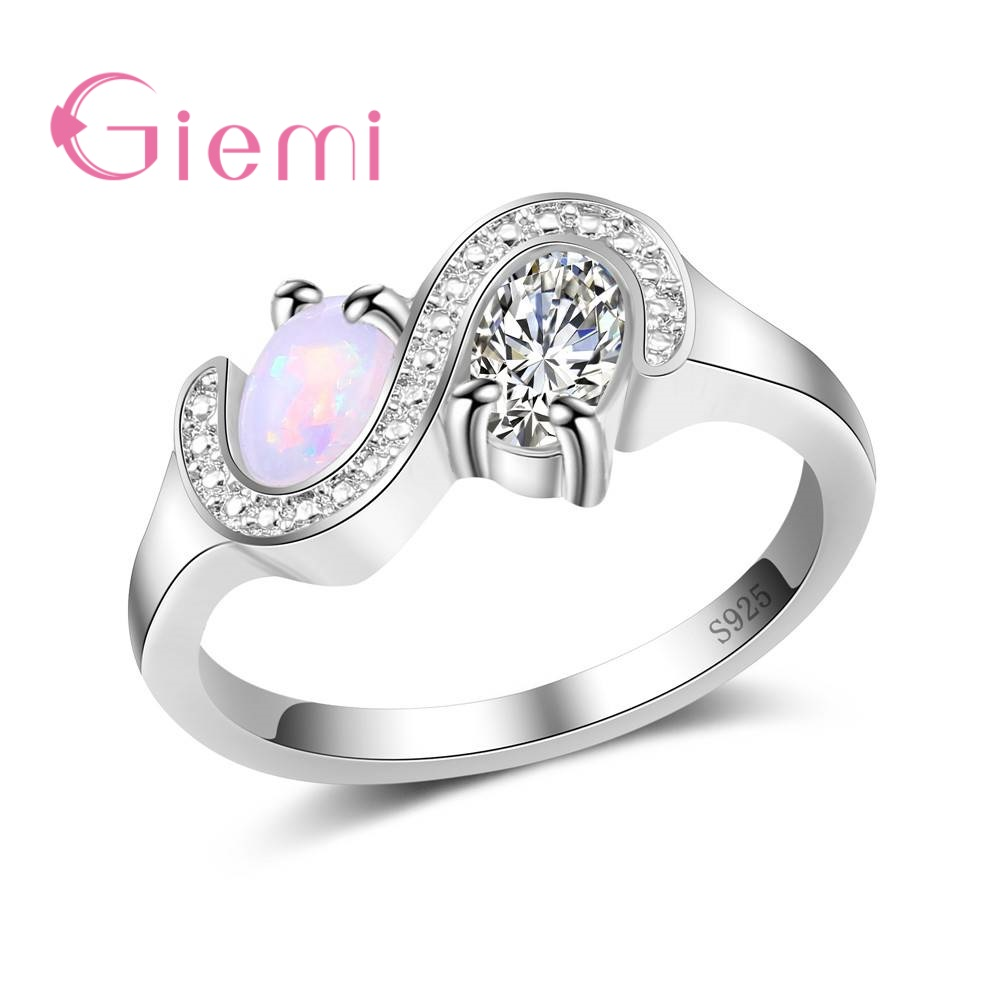 GIEMI Wholesale 925 Sterling Silver Finger AAAA Prong Setting Opal Rings Women Girl Birthday Gift High Quality Elegant Jewelry